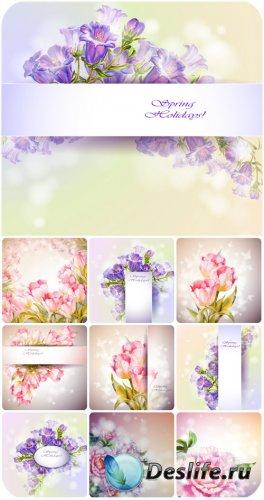 Тюльпаны колокольчики и пионы, цветочные векторные фоны / Floral vector bac ...