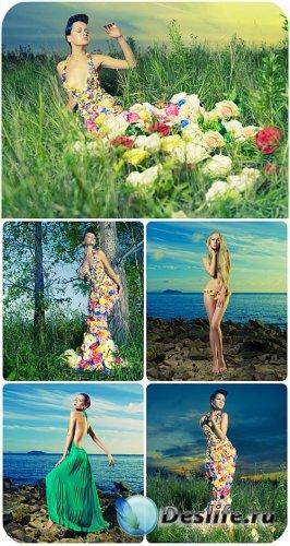 Девушки и природа, цветы / Girls and nature, flowers - Stock Photo