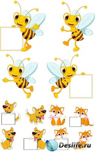 Пчела, собачка и кошечка в векторе с плакатом