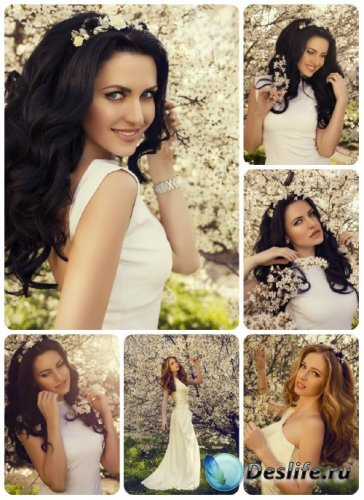 Темноволосая девушка в весеннем саду / Dark-haired girl in a spring garden