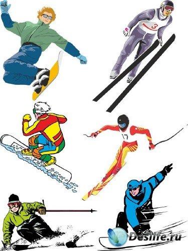 Зимние виды спорта (подборка вектора)