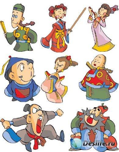 Забавные мультяшные китайские персонажи в векторе