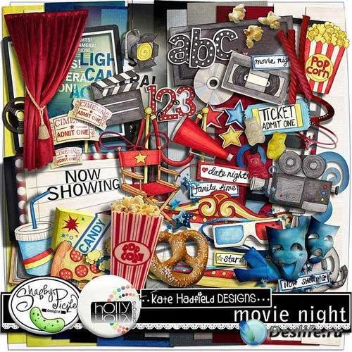 Красочный скрап-комплект на тему кино - Вечер кино