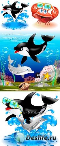 Подборка в векторе -  Дельфины в море