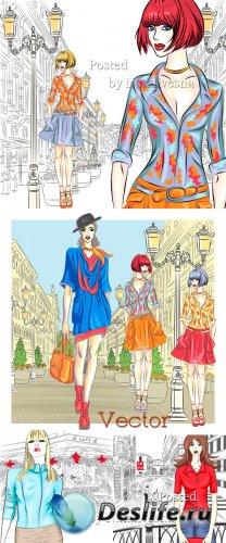 Девушки  в Векторе на фоне городских улиц