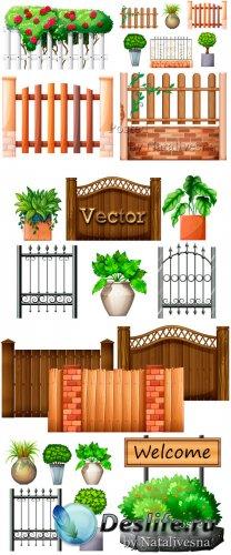 Забор и клумбы с цветами в векторе