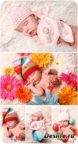 Маленькие дети с цветами / Little kids with flowers - Stock Photo