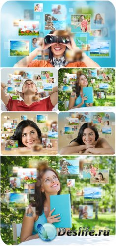 People planning a holiday trip - stock photos