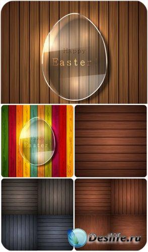 Деревянные фоны с пасхальными элементами, вектор / Wooden background with E ...