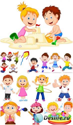 Маленькие дети, мальчики и девочки в векторе / Little kids , boys and girls ...