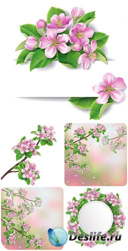 Прекрасные весенние цветы, цветущее дерево в векторе / Lovely spring flower ...