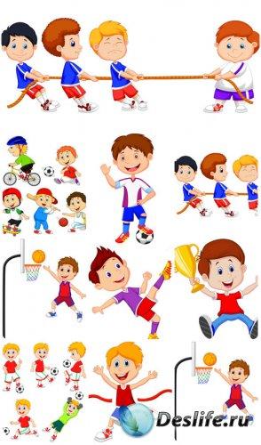 Дети и спорт, маленькие дети в векторе / Children and sport, young children ...
