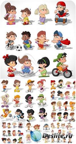 Дети, детские игры и развлечения, вектор / Children, vector