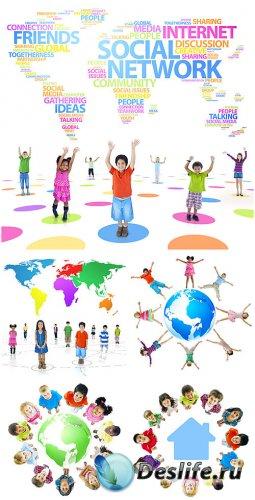 Дети, социальная сеть интернет / Children, social network - stock photos