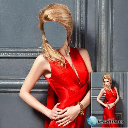 Женский костюм - В красивом красном вечернем платье
