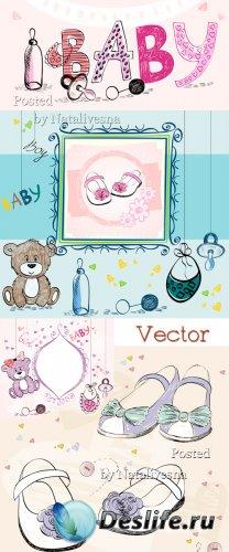 Фоны детские в Векторе с игрушками и соской