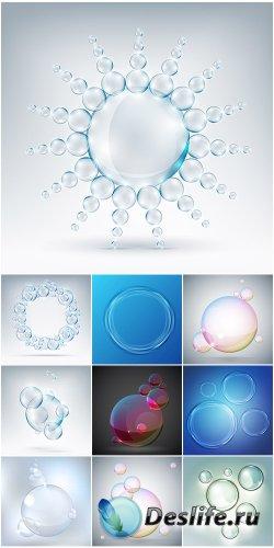 Разноцветные фоны с пузырями в векторе