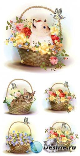 Корзины с цветами и котятами, вектор / Baskets of flowers and kittens, vect ...