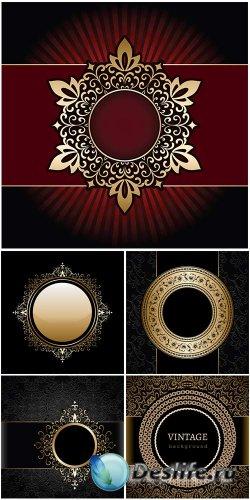 Векторный клипарт - винтажные золотые рамки