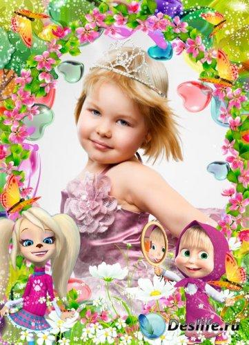 Детская фоторамка - с  Розой и Машей