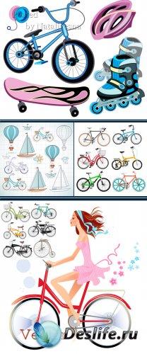 Клипарт в Векторе - Велосипед и аксессуары для спорта