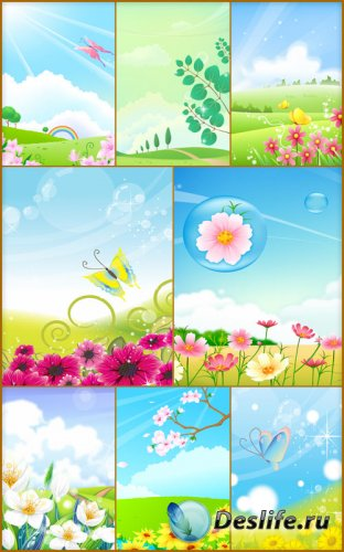 Детские весенние фоны - Поляны из цветами