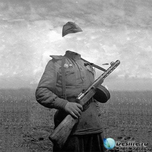 Мужской костюм - Солдат с автоматом старинное фото
