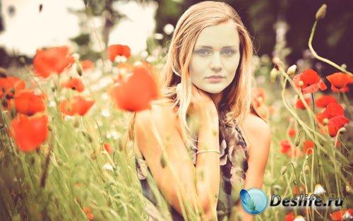 Костюм для Фотошопа PSD - Нежная фотосессия блондинки среди маков