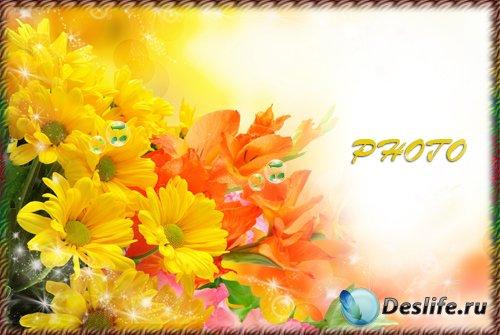 Рамка для фотографии - Нежный аромат хризантем