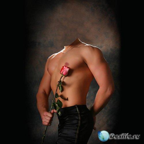 Костюм для Фотошопа - Парень с накаченным телом дарит розу