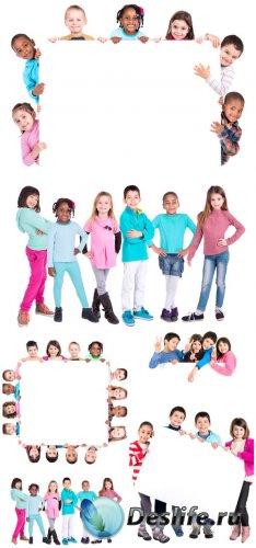 Дети с плакатами / Children with placards - stock photos