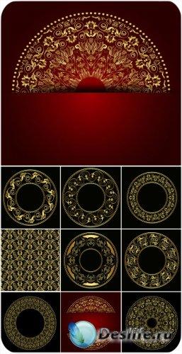 Векторные фоны, золотые круги с узорами / Vector backgrounds, golden circle ...
