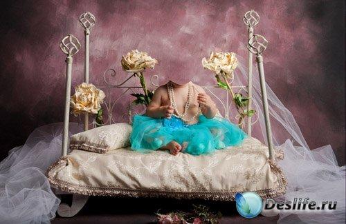 Костюм для Фотошопа - Маленькая королева на кровати