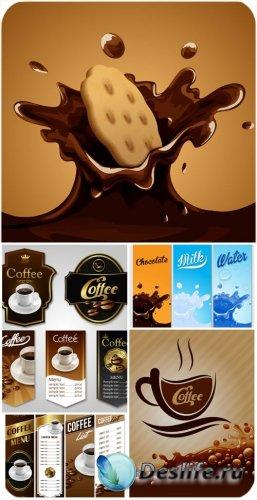 Кофе, шоколад, этикетки и фоны в векторе / Coffee, chocolate, labels and ba ...