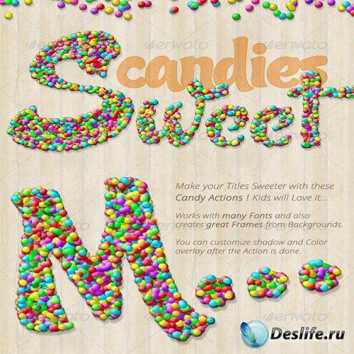 Экшены для фотошопа - Candy Text Creator - Photoshop Actions - 7588581