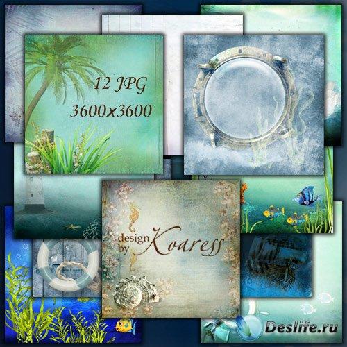 Набор морских фонов для фотошопа с пальмами, водорослями, рыбками, чайками, ...