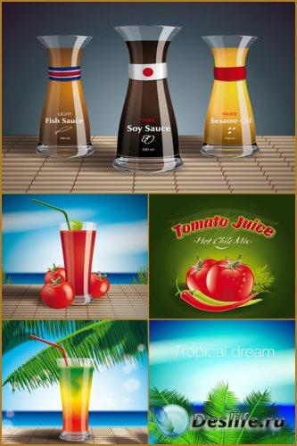 Фруктовые и овощные соки - Векторный клипарт