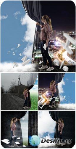 Девушка, креатив / Girl, creative - Stock photo