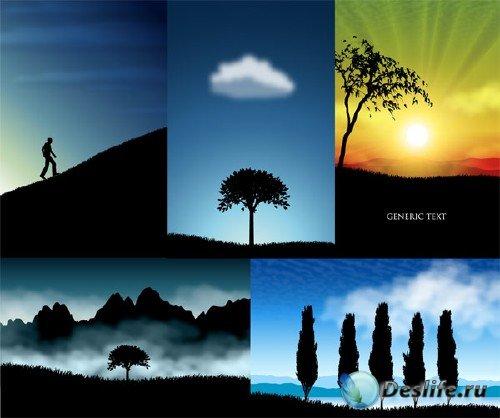 Великолепные очертания ландшафтов в векторном клипарте