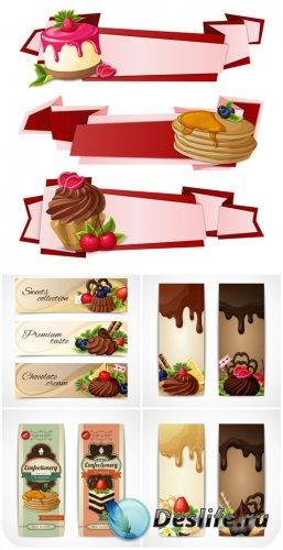 Баннеры в векторе, сладости / Banners vector sweets