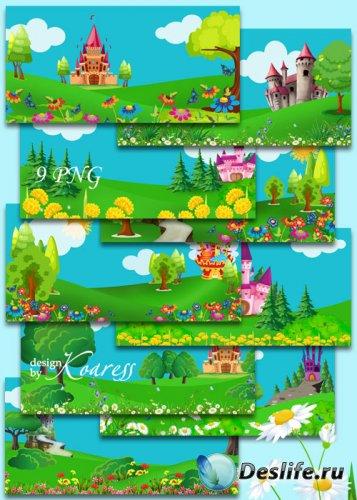 Детские сказочные фоны для дизайна со сказочными нарисованными замками, цве ...