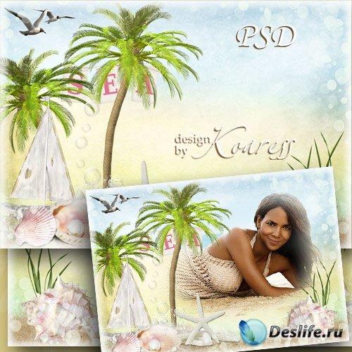 Фоторамка с пальмами и ракушками - Тропическое солнце, ласковое море