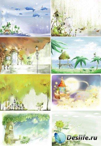 Набор детских романтических фонов
