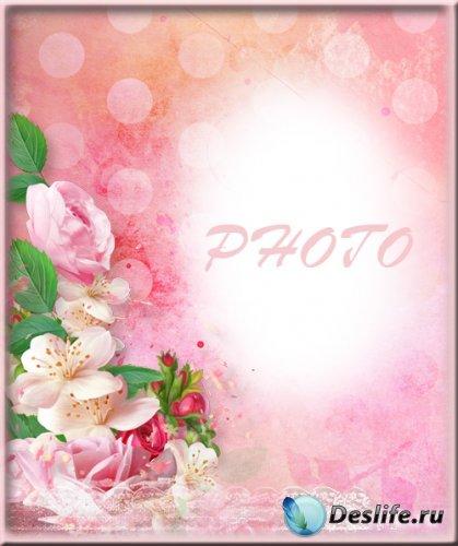 Женская фоторамка - Розовые розы для любимой