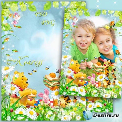 Детская рамка для фотошопа с героями мультфильма Диснея Винни Пух - Веселая ...