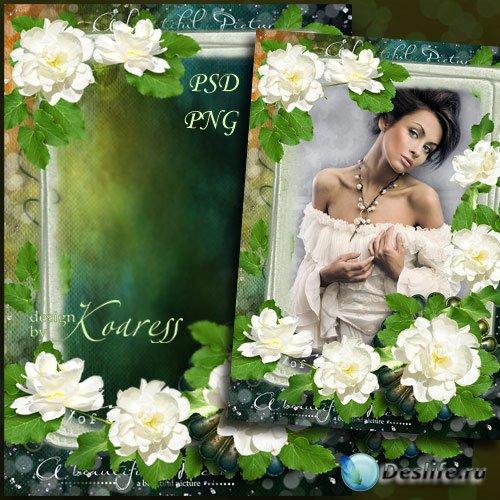 Рамка для фото - Белые розы для винтажного фото