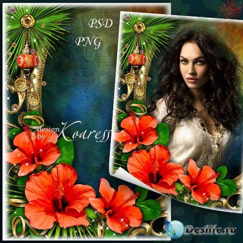 Романтическая фоторамка - Тропический яркий цветок