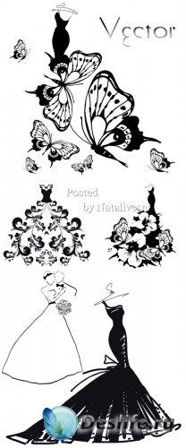 Векторный клипарт на белом фоне – Силуэты вечерних платьев украшенных цвета ...