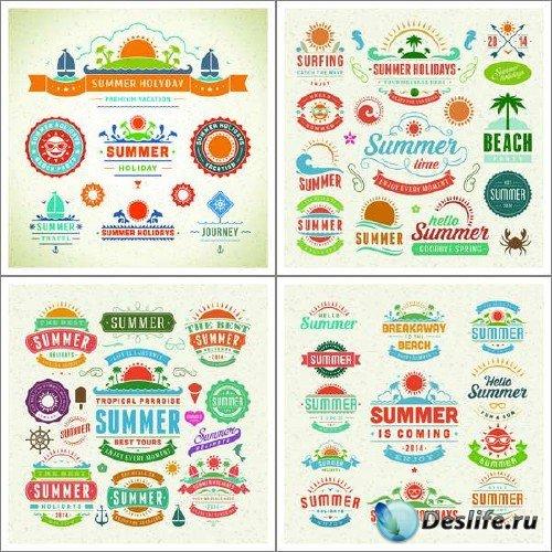 Винтажные этикетки и материалы с летней тематикой