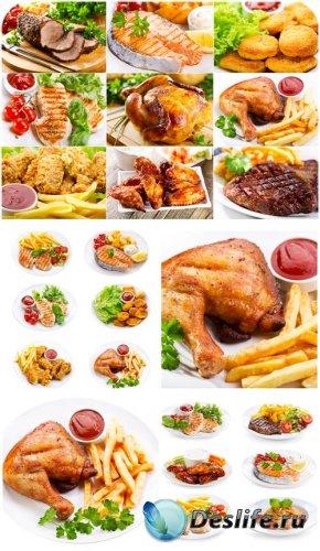 Жареная курица с картошкой, еда / Roast chicken with potatoes, food - Stock ...
